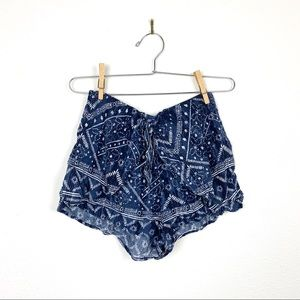 Abercrombie Boho Blue Patterned Flowy Shorts